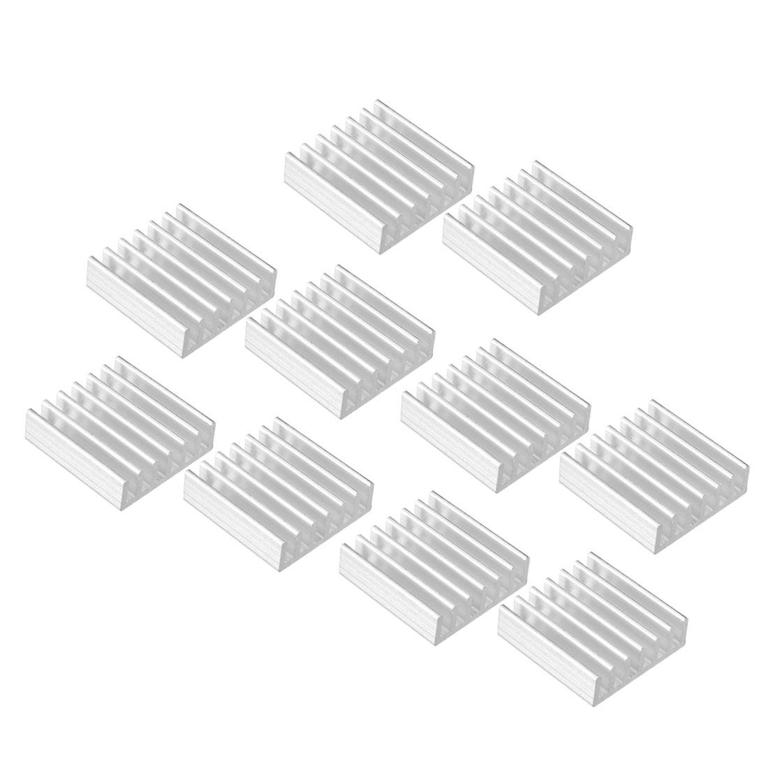Aluminum Heatsink Cooler Circuit Board Cooling Silver Tone 20mmx20mmx6mm 10Pcs