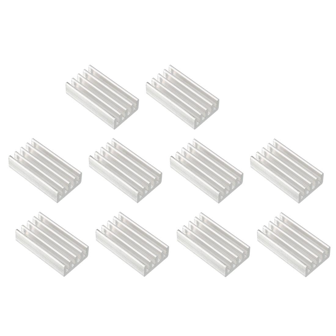 Aluminum Heatsink Cooler Circuit Board Cooling Silver Tone 20mmx11mmx5mm 10Pcs