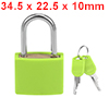 Padlock, Zinc Alloy Body with Green ABS Shell, 22.5mm Width, Keyed Different