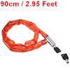 Chain Lock, 2.95 Feet Long, 4.5mm Diameter Buckle, Red Covered Sleeve