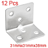 12pcs 31mmx31mmx38mm Stainless Steel Corner Brace Joint L Shape Right Angle Bracket Fastener