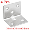4pcs 31mmx31mmx38mm Stainless Steel Corner Brace Joint L Shape Right Angle Bracket Fastener