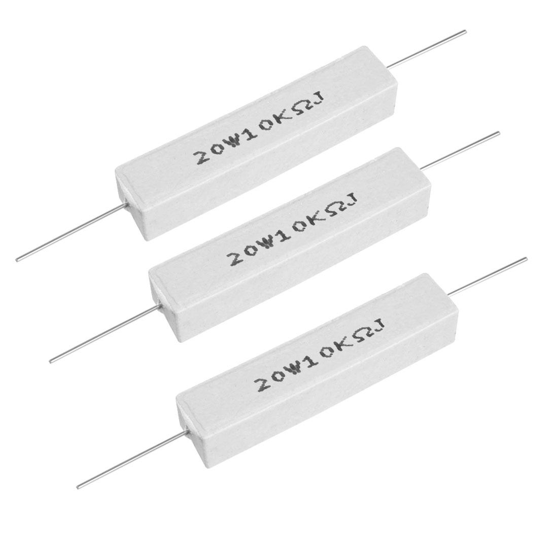20W 10k Ohm Power Resistor Ceramic Cement Resistor Axial Lead White 3pcs