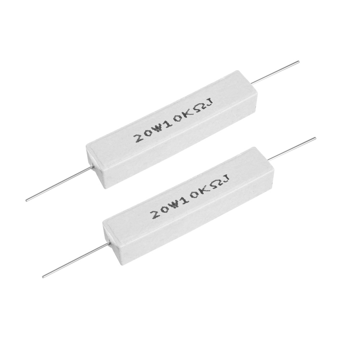 20W 10k Ohm Power Resistor Ceramic Cement Resistor Axial Lead White 2pcs