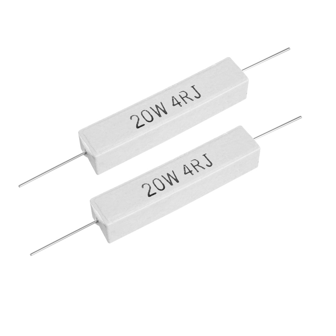20W 4 Ohm Power Resistor Ceramic Cement Resistor Axial Lead White 2pcs