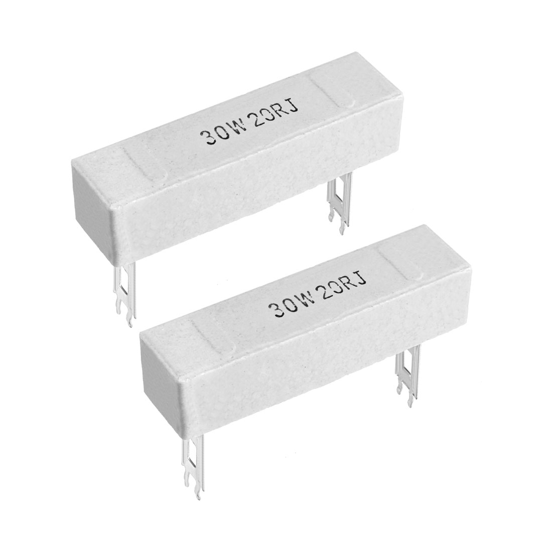 30W 20 Ohm Power Resistor Ceramic Cement Resistor Axial Lead White 2pcs