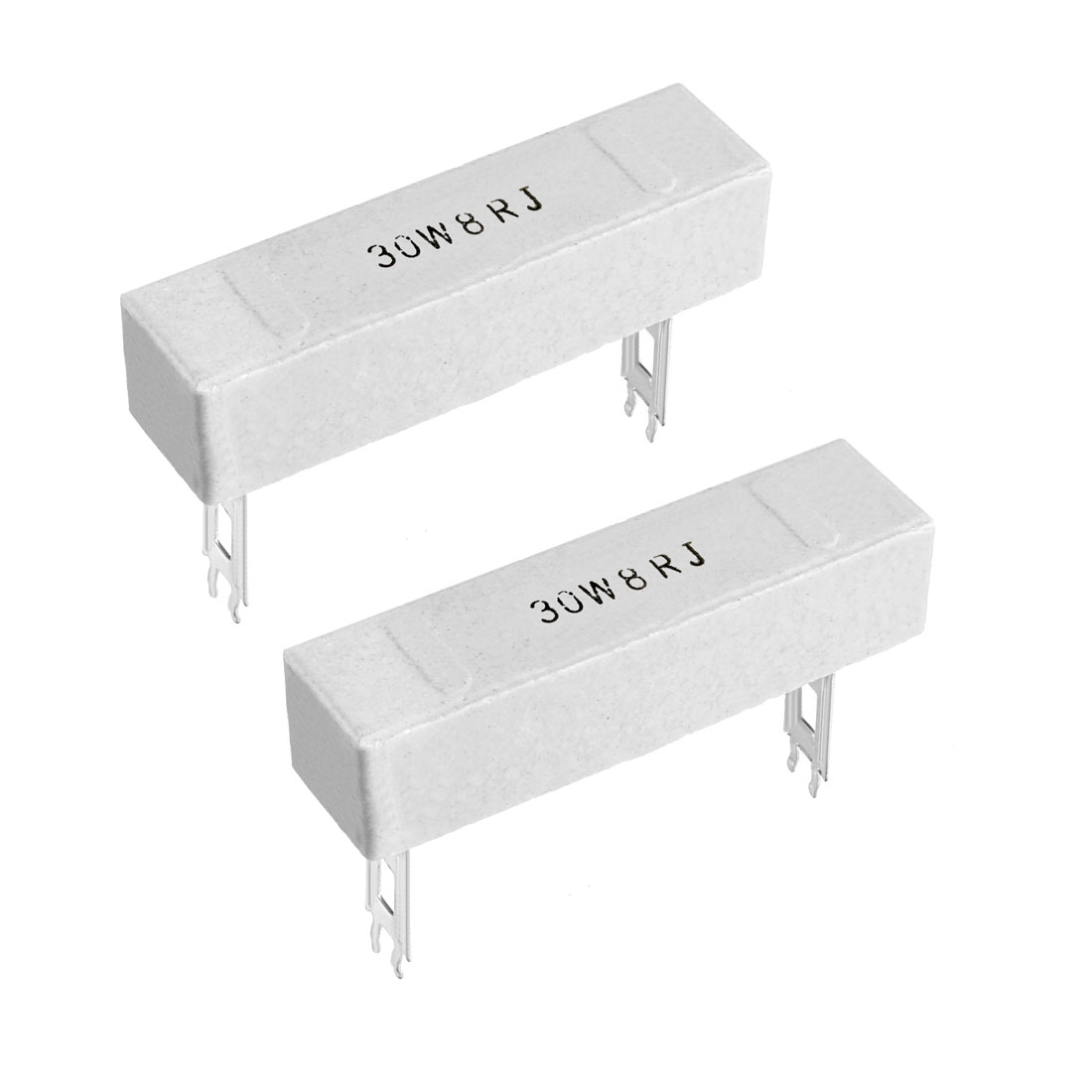 30W 8 Ohm Power Resistor Ceramic Cement Resistor Axial Lead White 2pcs
