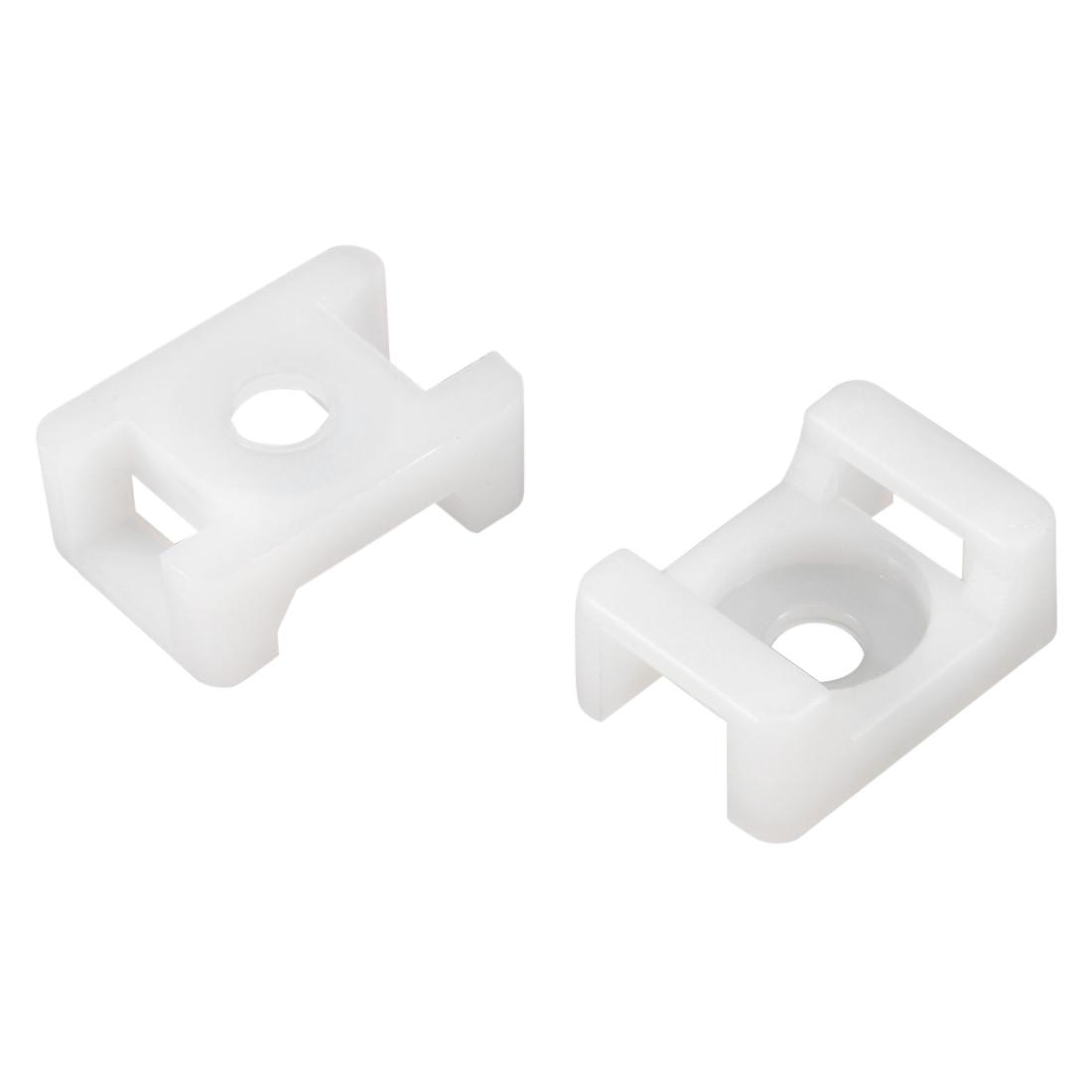 Cable Tie Base Saddle Type Wire Holder Nylon 9.2mm Hole Width White 50Pcs HC-2