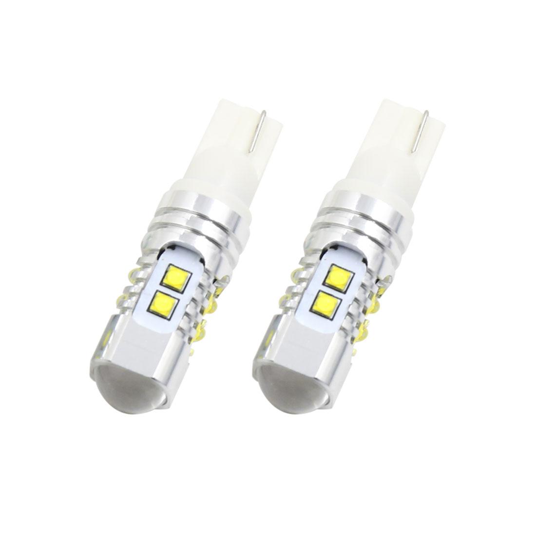 2pcs 50W 12-24V T10 6500K High Power Car White LED Turn Signal Brake Light Bulb