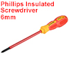 1000v Phillips Insulated Magnetic Tip Electrical Screwdriver #2 x 6 Inch