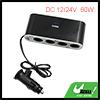 Black DC 12/24V 60W 4 Way Cigarette Lighter Socket USB Adapter for Car Vehicle
