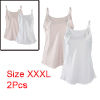 Women Plain Slim Fit Spagetti Straps Satin Cami Tank Tops White+Cream XXXL