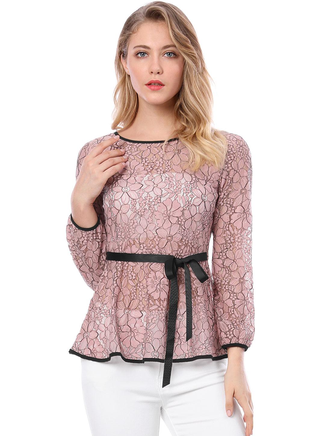 Allegra K Women's Self-Tie Waist Semi Sheer Lace Peplum Top Pink XL