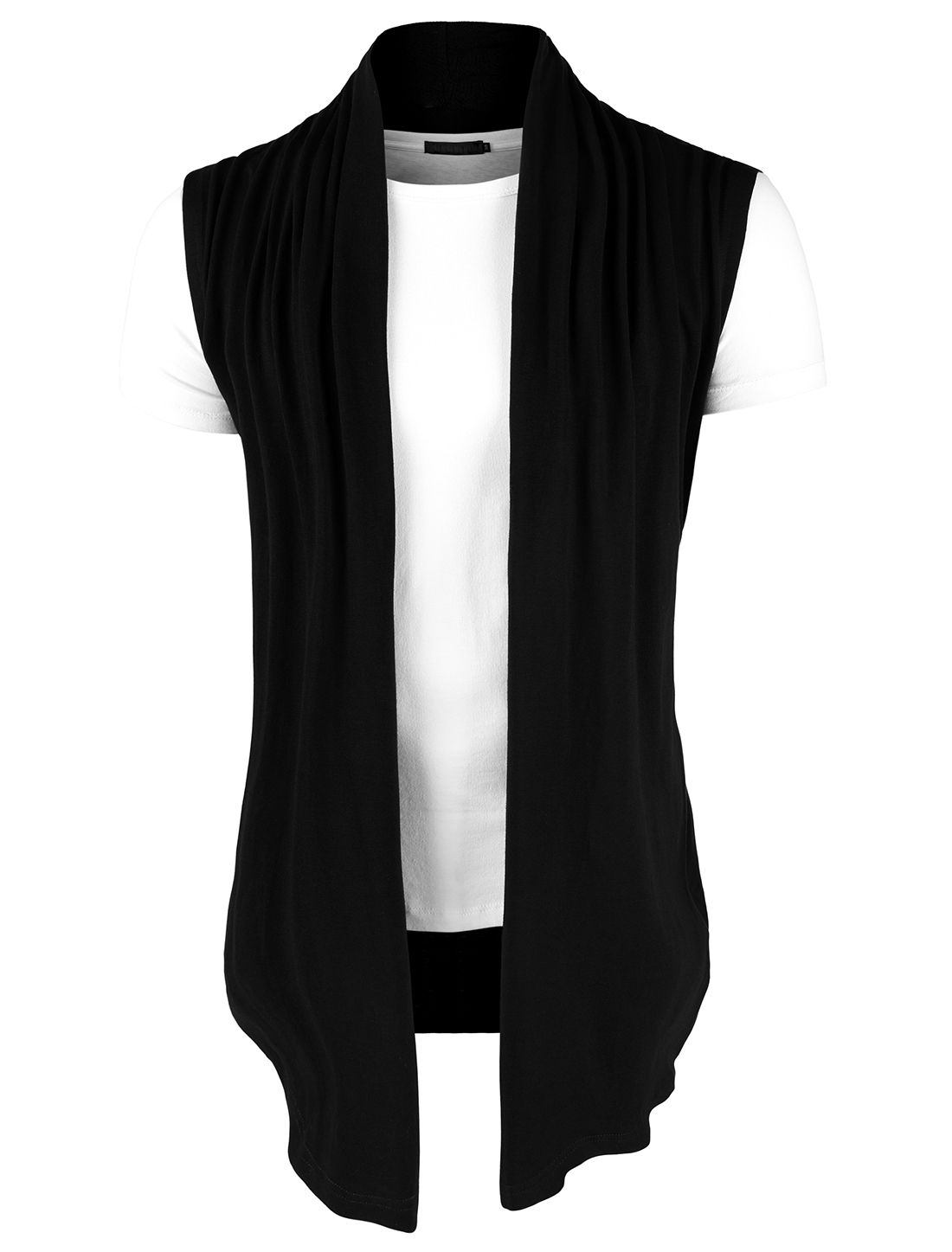 Men Shawl Collar Lightweight Open Front Sleeveless Long Cardigan Vest Black S