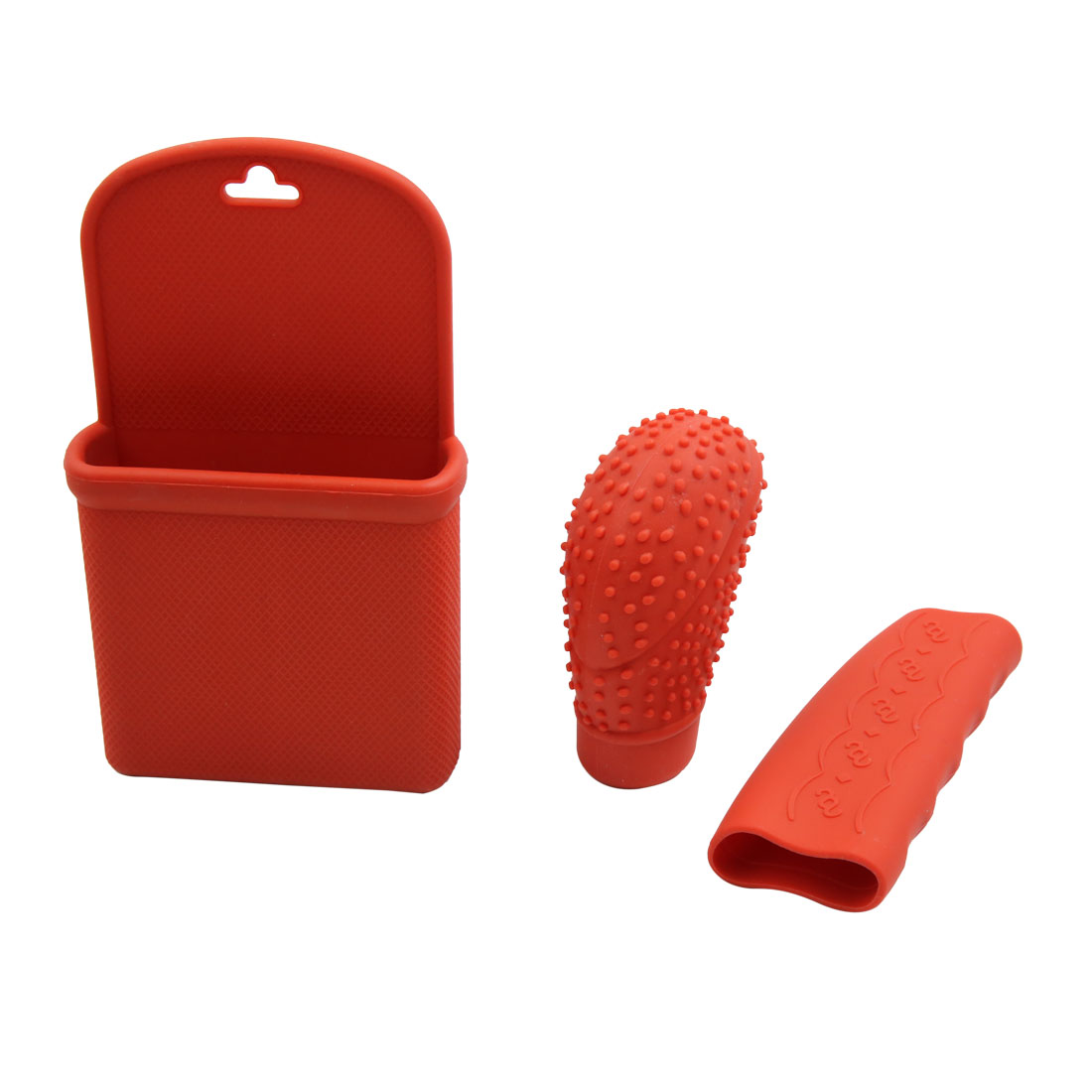 3 In 1 Red Silicone Auto Car Shift Knob Hand Brake Cover Storage Holder Set