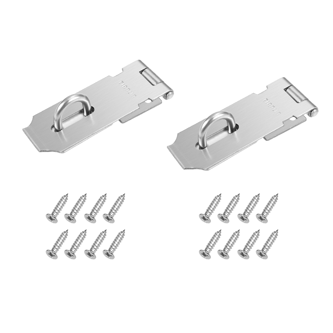 Hasp Staple Gate Latches Lock with Screws,109mm Length,Stainless Steel,2pcs