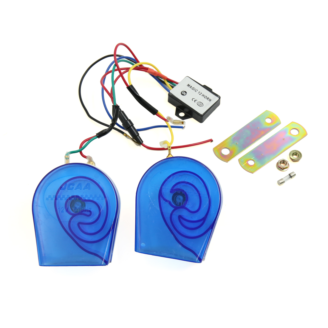 1 Set White Blue 12V 410Hz 510Hz 115dB Car Motorcycle High Low Tone Snail Horn