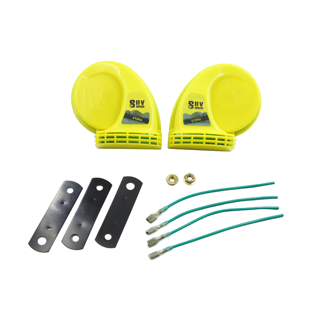 1 Set Yellow 12V 410Hz 510Hz 105-118dB SUV Motorcycle High Low Tone Snail Horn