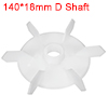 1Pcs 140*18mm D Shaft Replacement White Plastic 6 Impeller Motor Fan Vane