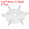 4Pcs 140*18mm D Shaft Replacement White Plastic 6 Impeller Motor Fan Vane
