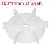 1Pcs 103*14mm D Shaft Replacement White Plastic 6 Impeller Motor Fan Vane