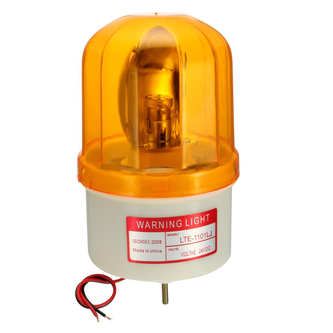 LED Warning Light Bulb Rotating Flashing Alarm Lamp Buzzer 90dB DC 24V Yellow
