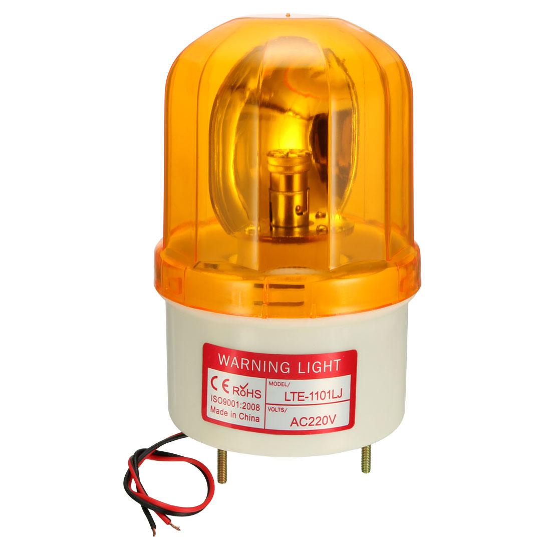 LED Warning Light Rotating Flashing Lamp Buzzer 90dB AC 220V Yellow LTE1101LJ