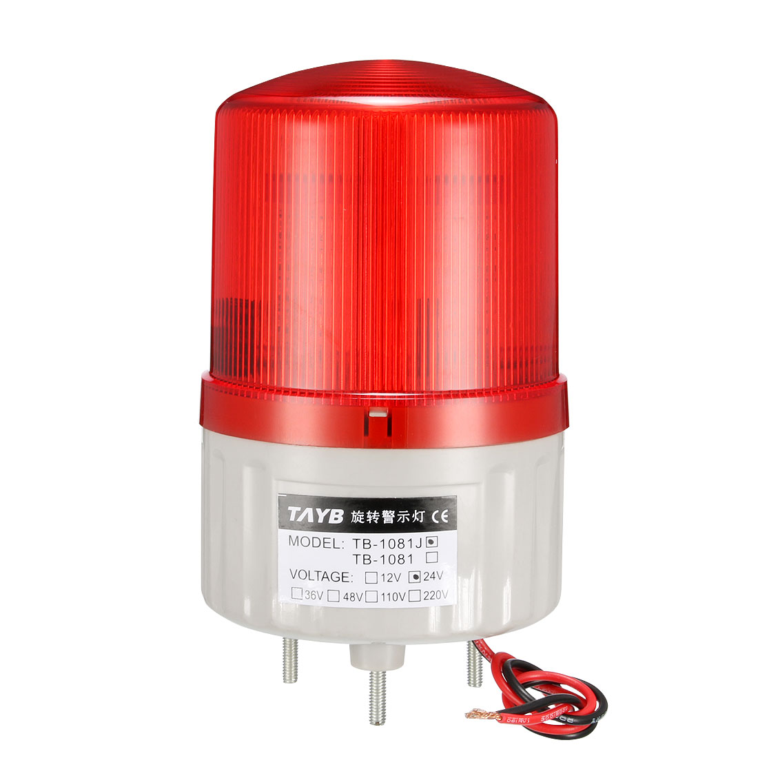 LED Warning Light Bulb Bright Alarm Lamp Buzzer 90dB DC24V Red TB-1081J