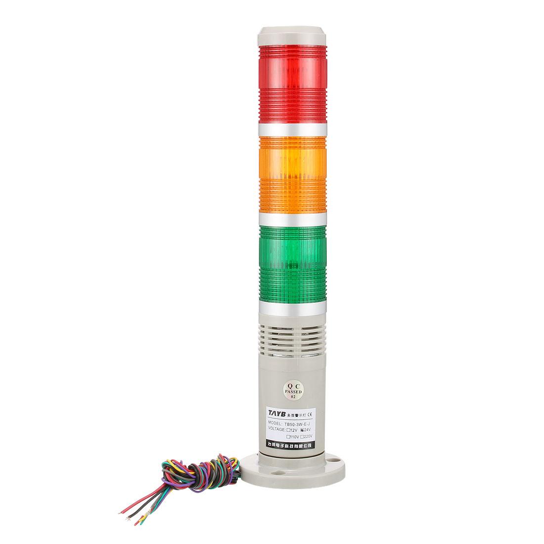 Warning Light Flashing Bright Alarm Lamp Buzzer 90dB DC24V Red Green Yellow