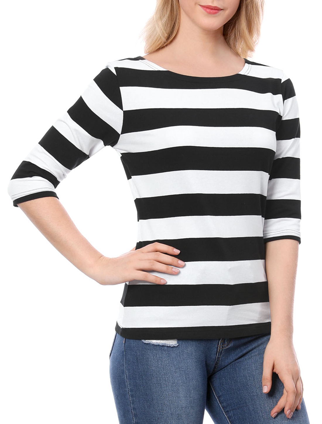 Allegra K Women's Elbow Sleeves Boat Neck Slim Fit Striped Tee Black White S