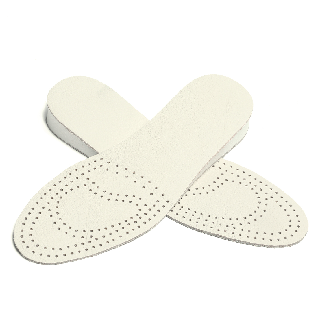 """Women Men Leather Insole Breathable Pad Height Increase W11/M9 1"""" High White"""