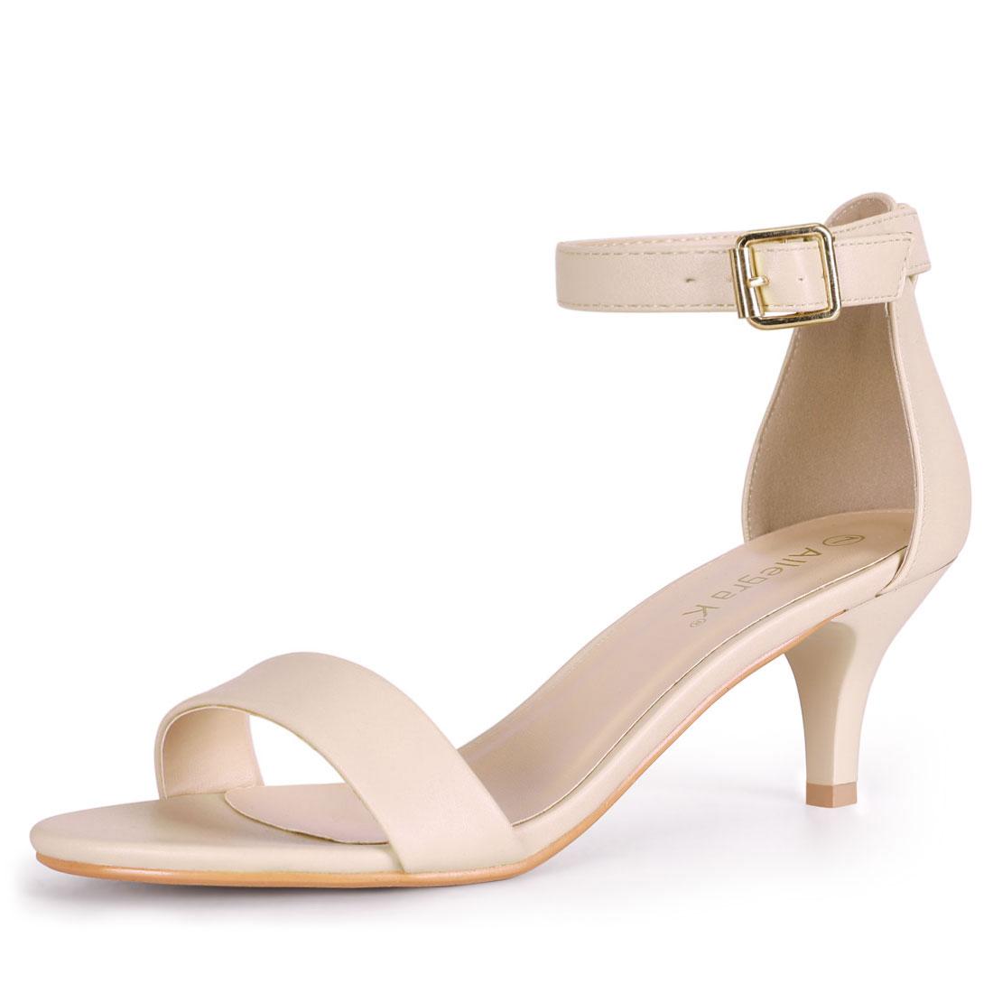 Women's Kitten Heel Ankle Strap Sandals Nude US 9