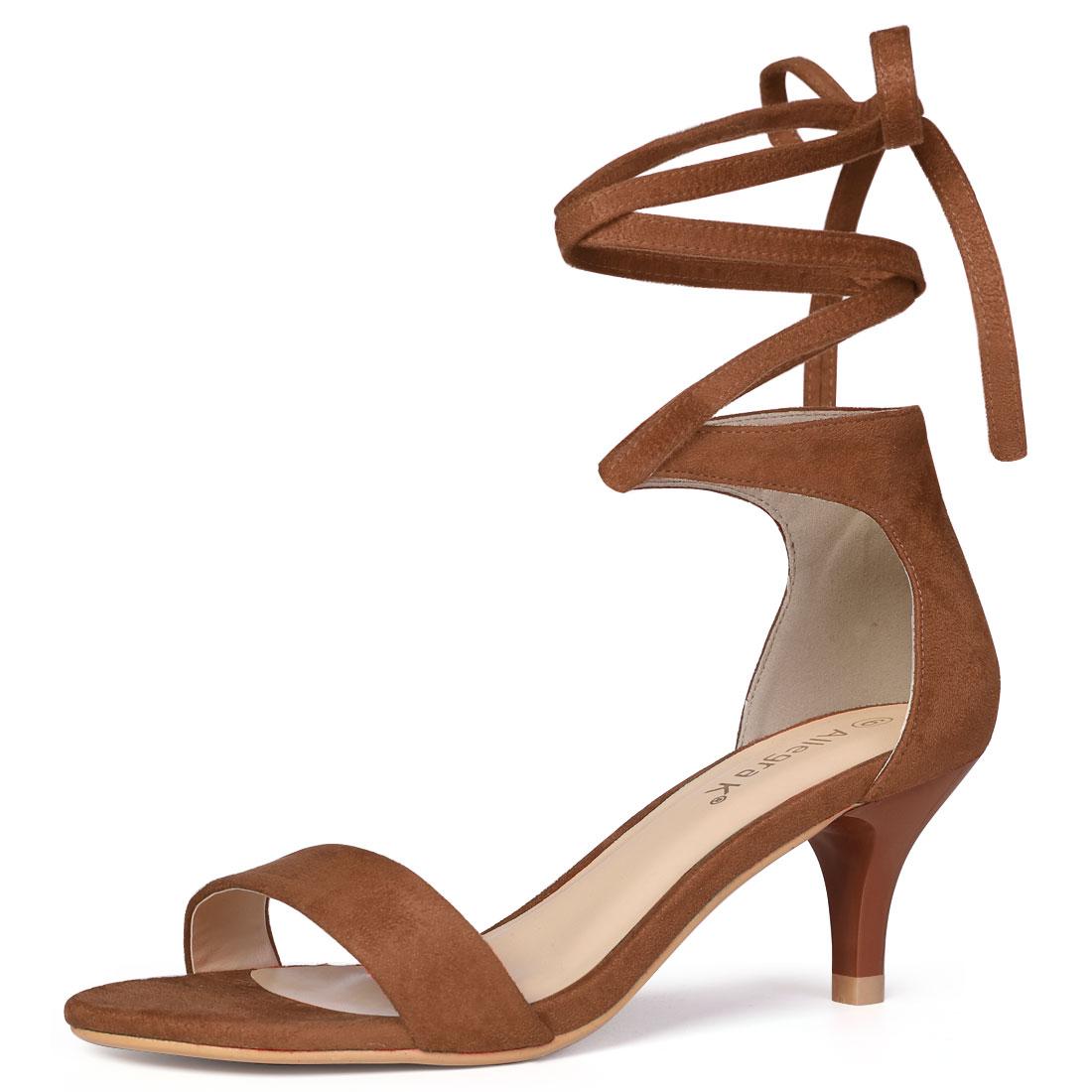 Women Open Toe Kitten Heel Lace Up Dress Sandals Brown US 9