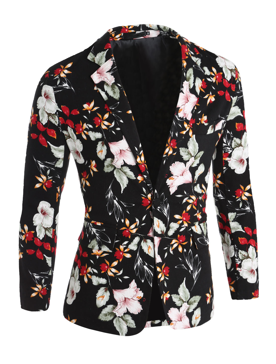 Men Casual Floral Print Single Breasted Long Sleeve Blazer Jacket Red M