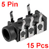 15Pcs PCB Mount 3.5mm 5 Pin Socket Headphone Stereo Jack Audio Video Connector Black PJ-313D