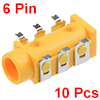 10Pcs PCB Mount 3.5mm 6 Pin Socket Headphone Stereo Jack Audio Video Connector Yellow PJ313D