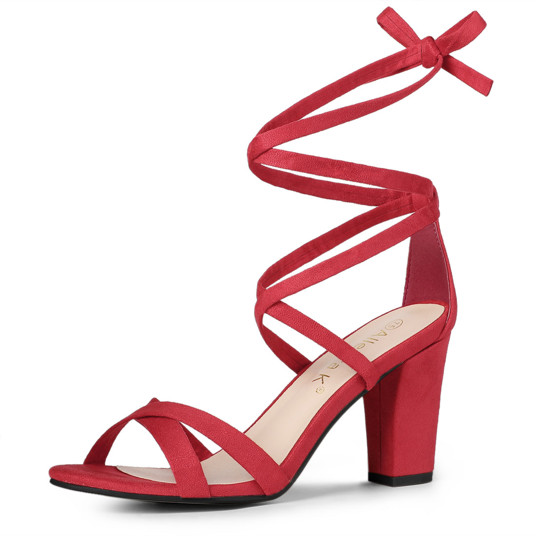 Allegra K Women's Lace-up Heeled Sandals Red 1 US 9
