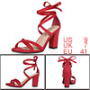 Women Open Toe Lace-Up High Block Heeled Sandals Red 1 US 9