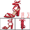 Women Open Toe Lace-Up High Block Heeled Sandals Red 1 US 11