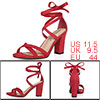 Women Open Toe Lace-Up High Block Heeled Sandals Red 1 US 11.5