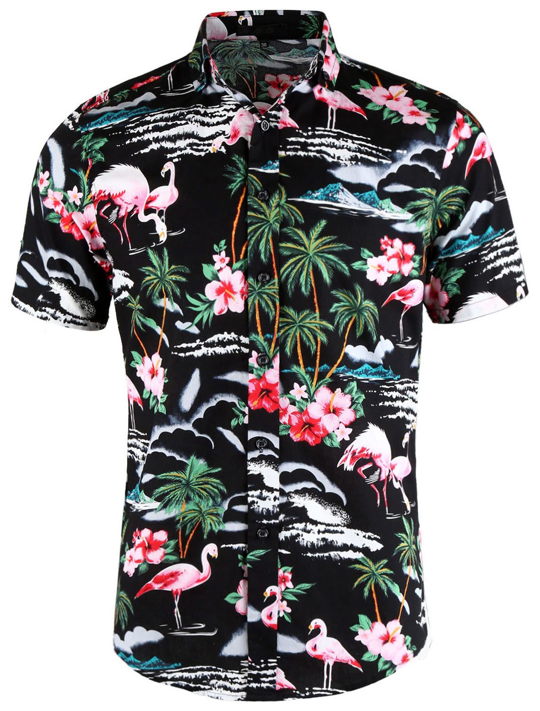 Men Summer Floral Flamingo Button Down Short Sleeves Hawaiian Shirt Black M