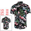Men Summer Floral Flamingos Button Down Short Sleeve Hawaiian Shirt Black M