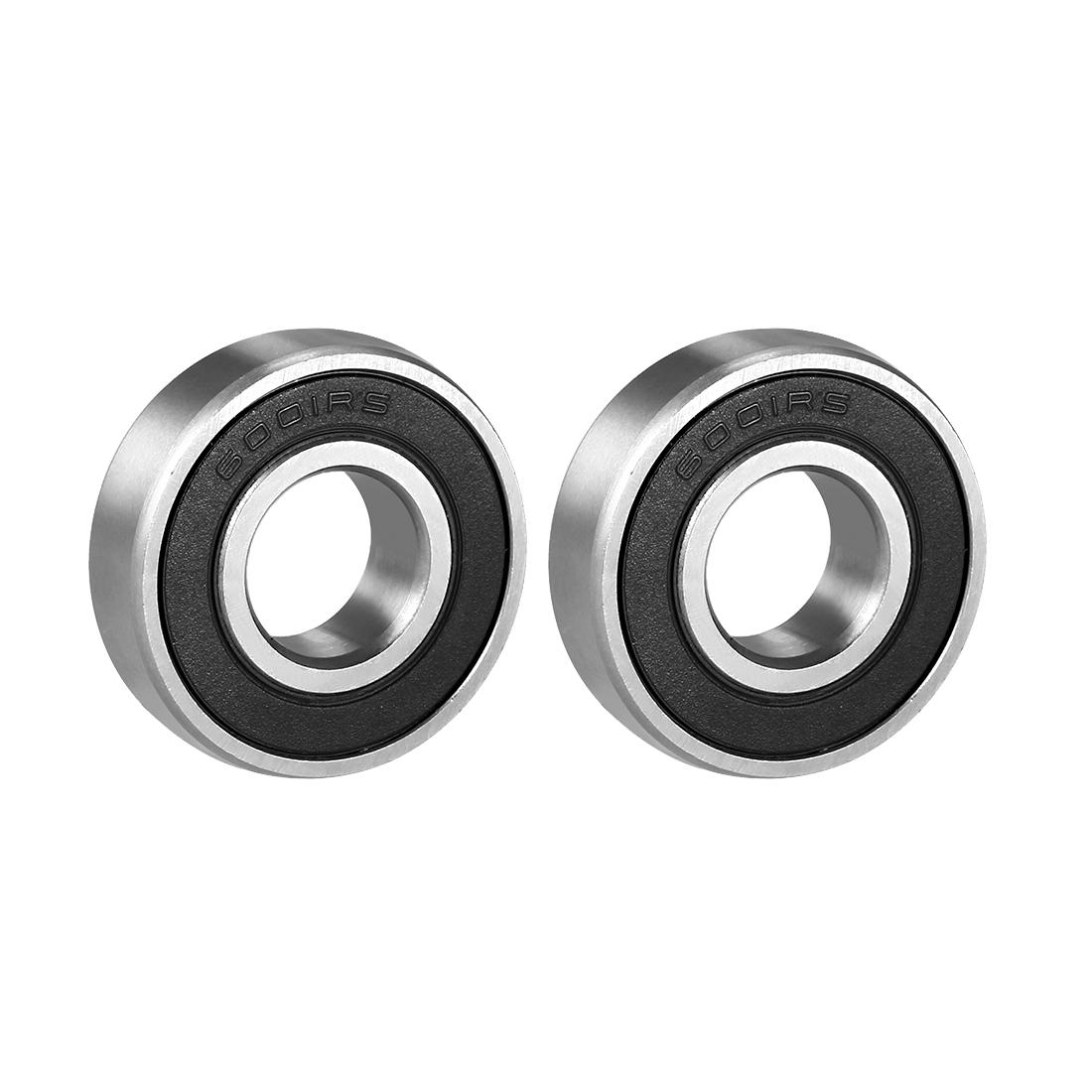 2pcs Deep Groove Ball Bearing 6001RS Single Sealed, 12mm x 28mm x 8mm Chrome Steel Bearings