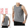 Men Basic Sleeveless Shirt Pocket Striped Jersey Casual Cotton Tank Top Gray L