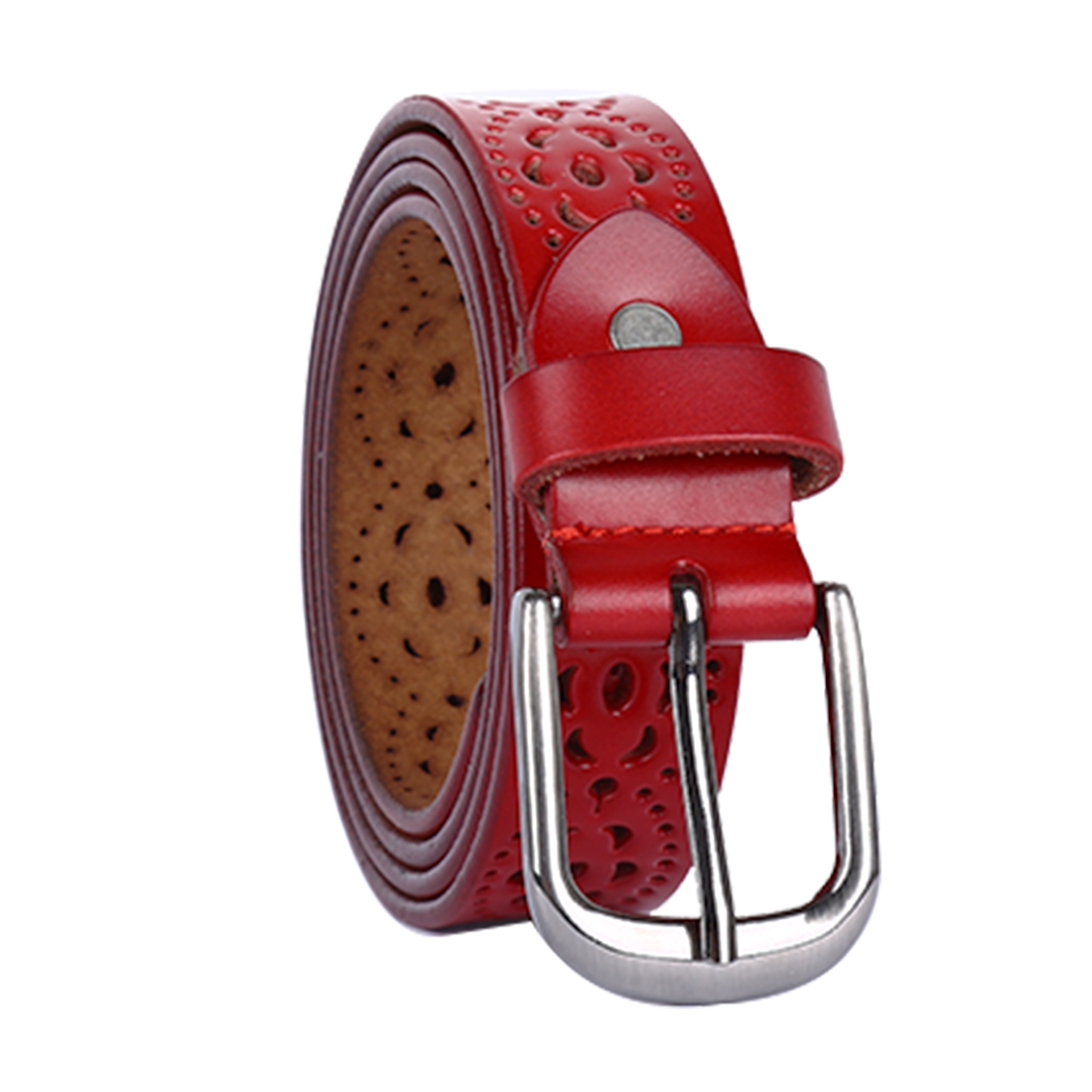 Women Carved Multi-Hole Hollow Alloy Pin Buckle Leather Belt Red-Flowers
