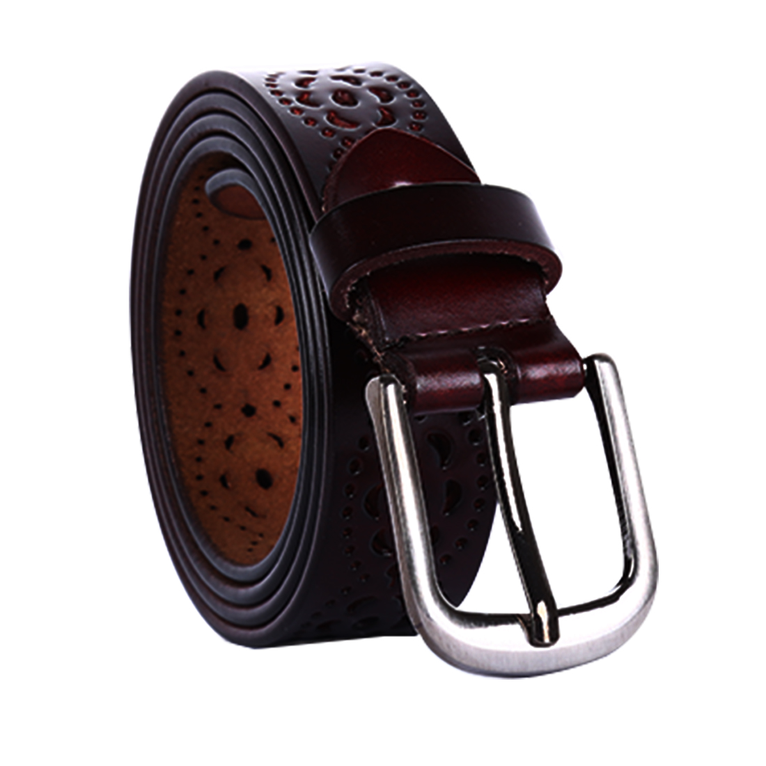 Women Carved Multi-Hole Hollow Alloy Pin Buckle Leather Belt Dark Brown-Flowers