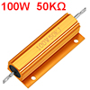 Aluminum Case Resistor 100W 50K Ohm Wirewound Yellow for LED Replacement Converter 100W 50KRJ