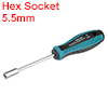 5.5mm Non-Magnetic Tip Six Point Hex Nut Driver with 3-Inch Round Shaft