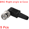BNC Male Coaxial Connectors Screw-lock Terminal Right Angle for CCTV Home Security RG59 Video Transmission Coax Cables 5pcs