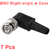BNC Male Coaxial Connectors Screw-lock Terminal Right Angle for CCTV Home Security RG59 Video Transmission Coax Cables 7pcs